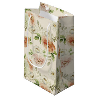 Watercolor retro classic floral design, roses small gift bag
