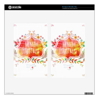 Watercolor Retro Merry Christmas Skin For Kindle Fire