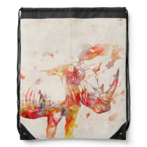 Watercolor Rhino Digital Painting Drawstring Bag