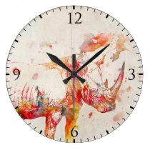 Watercolor Rhino Digital Painting Large Clock