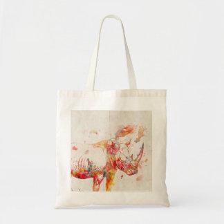 Watercolor Rhino Digital Painting Tote Bag