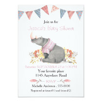 Watercolor Rhino in Pink Sweater Baby Shower Card