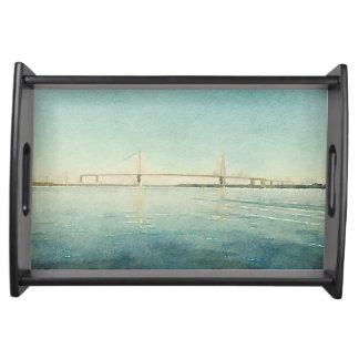 Watercolor River Bridge Charleston South Carolina Serving Tray