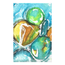 Watercolor River  Rocks Stationery