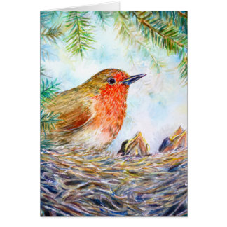 Watercolor Robin and Chicks Greeting Card