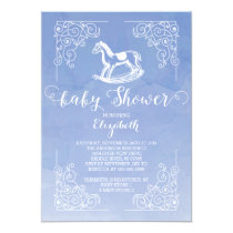 Watercolor Rocking Horse Baby Shower Invitation