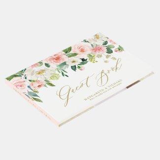 Watercolor Romantic Peach Florals I Wedding Guest Book