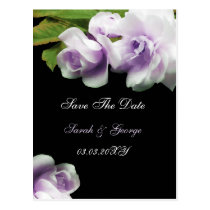 watercolor romantic purple rose save the date postcard