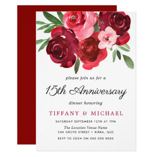 Watercolor Romantic Red Roses 15th Anniversary Card