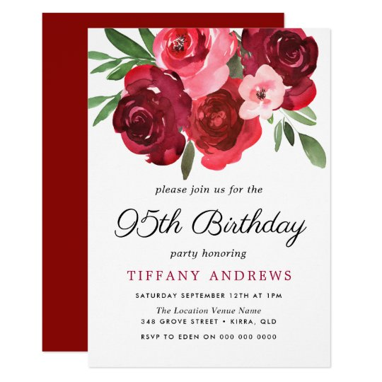 Watercolor Romantic Red Roses 95th Birthday Party Invitation