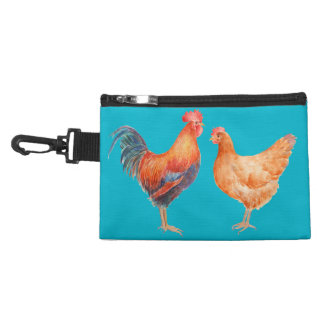 Watercolor Rooster and Hen Bag Accessory Bags