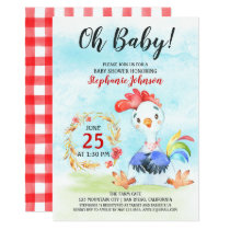 Watercolor Rooster Baby Shower Farm Invitation