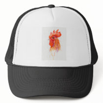 Watercolor Rooster Portrait Golden Trucker Hat
