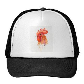 Watercolor Rooster Portrait Golden Trucker Hat