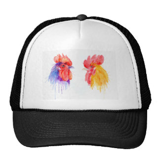 watercolor Rooster Portrait two roosters Trucker Hat
