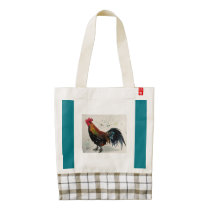 Watercolor Rooster Tote, Teal Zazzle HEART Tote Bag