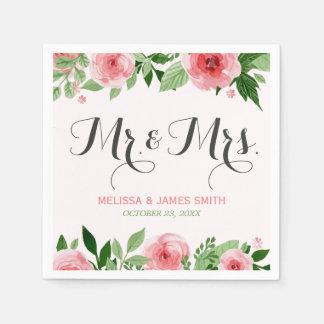 Watercolor Rose Botanical Flowers Wedding Monogram Paper Napkin
