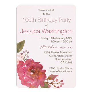 Watercolor Rose Bouquet 100th Birthday Party Card
