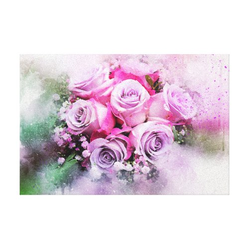 Watercolor Rose Bouquet Canvas Print