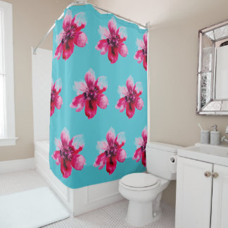 watercolor rose customizable shower curtain