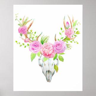 Watercolor Rose Deer Skull Art Print