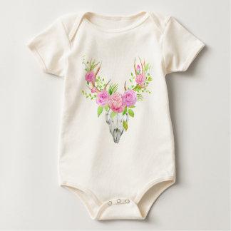 Watercolor Rose Deer Skull Art Print Baby Bodysuit
