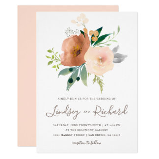 Watercolor Rose Flowers Bouquet Wedding Invitation