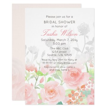 Watercolor Rose Garden Bridal Shower Invitations