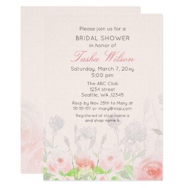 Watercolor Rose Garden Bridal Shower Invitations
