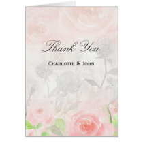 watercolor Rose Garden Modern wedding Thank You Card