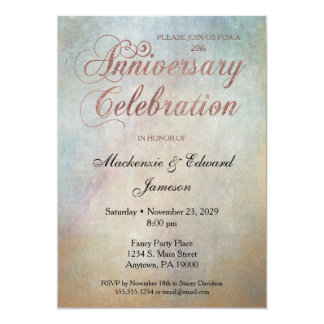 Watercolor Rose Gold Anniversary Party Invitation