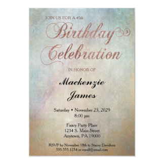Watercolor Rose Gold Birthday Party Invitation