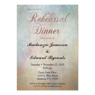 Watercolor Rose Gold Rehearsal Dinner Invitation