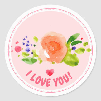 Watercolor rose I love you expression Classic Round Sticker