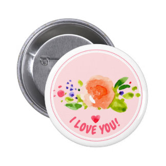 Watercolor rose I love you expression Pinback Button