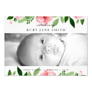 Watercolor Rose Leaf Birth Announcement