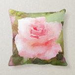 Watercolor rose pillow
