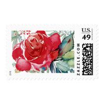 Watercolor Rose Wedding Stamp