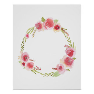 Watercolor Rose Wreath - Home Decor Poster