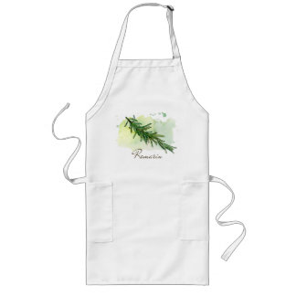 Watercolor Rosemary apron - Kitchen herbs garden