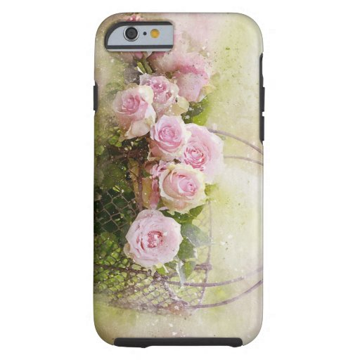 watercolor-roses-and-basket tough iPhone 6 case