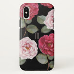 "Watercolor Roses Apple Tough iPhone X Case<br><div class=""desc"">Beautiful watercolor Roses with elegant monogram initial. Easily add your custom text.</div>"