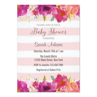 Watercolor Roses Baby Shower Invitation