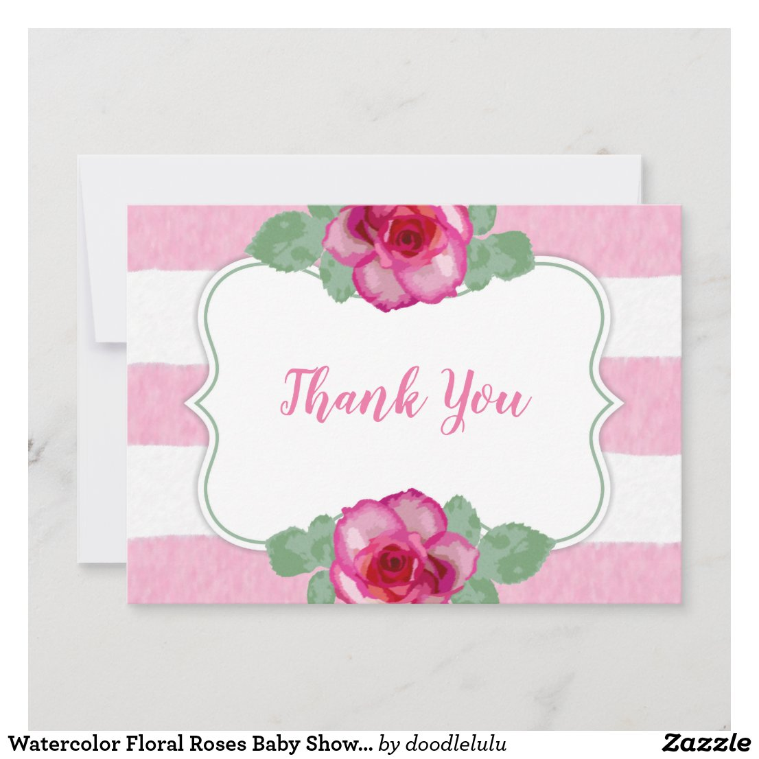 Watercolor Roses Baby Shower Thank You pink green