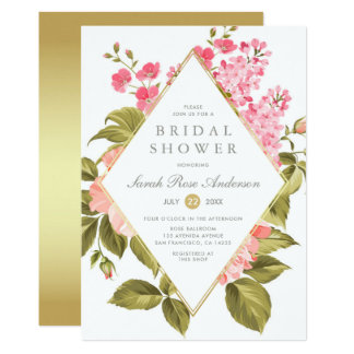 Watercolor Roses & Blossom on Gold | Bridal Shower Card