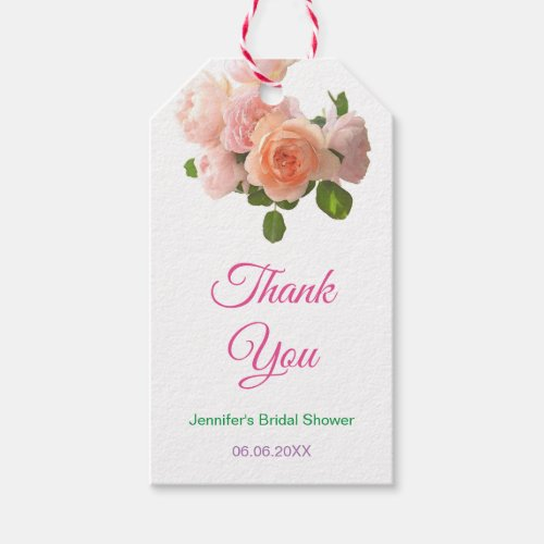 Watercolor Roses Bridal Shower Thank You Modern Gift Tags