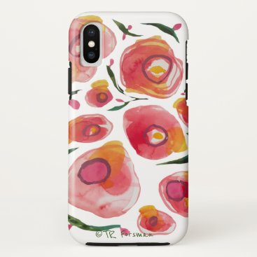 Watercolor roses by TR FORSMAN iPhone X Case