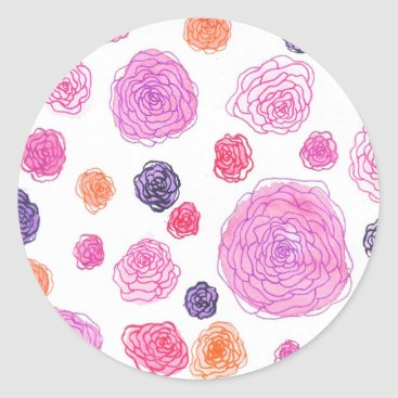 Art Themed Watercolor roses classic round sticker