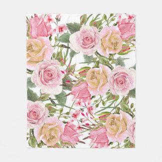 Watercolor Roses Fleece Blanket