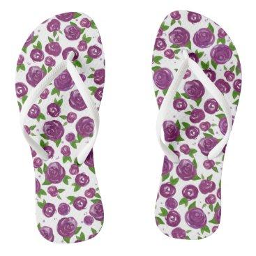 Beach Themed Watercolor Roses Flip Flops - Purple
